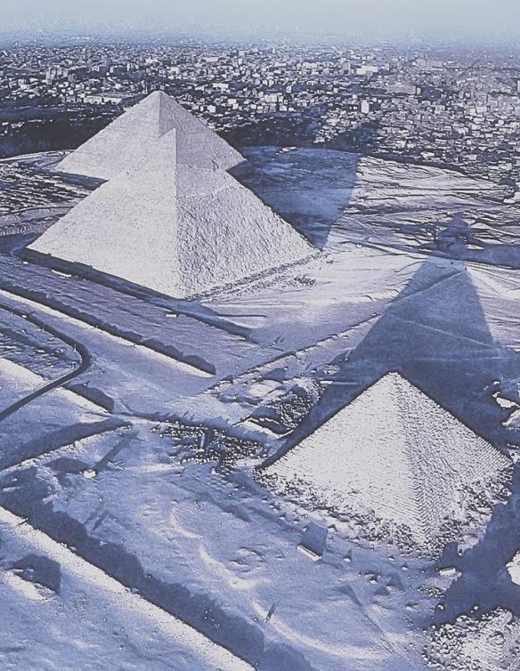 Snow falls on Egypt Pyramids (1)
