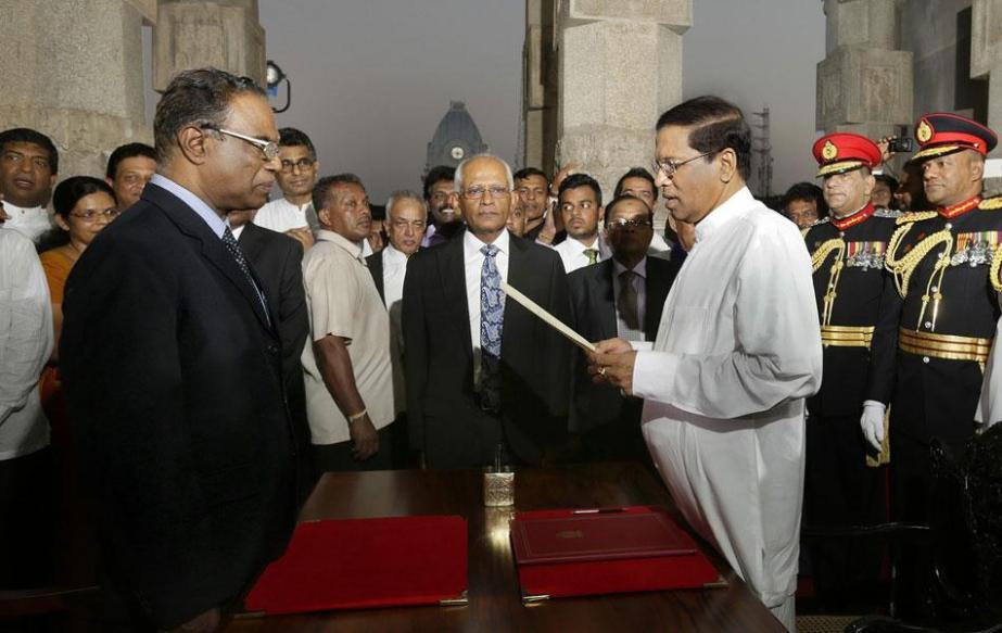 Maithripala Sirisena takes oath as thepresident