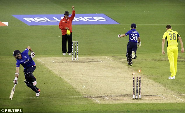 Dead ball run-out error in England's World Cup group match againstAustralia
