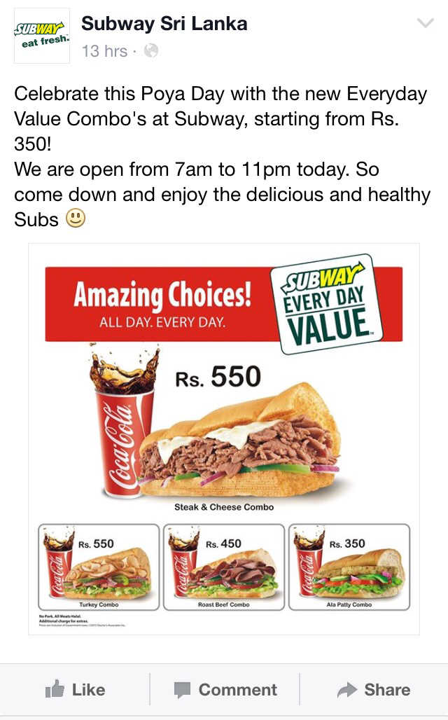 Subway asking sri lankans to celerate poya with meat